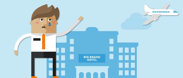 Illustration  man crying in front of a hotel