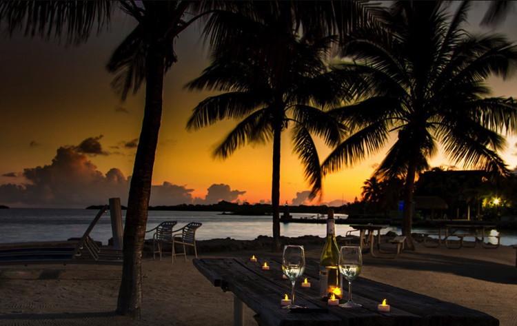 Banana Bay Resort & Marina in Marathon, Florida Beach at night