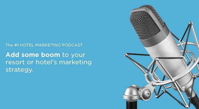 Banners de podcasts de marketing de hoteles TravelBoom