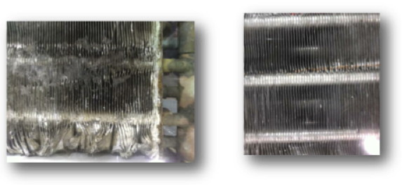 Above left a coil that is damaged and dirty, above right a clean well maintained coil