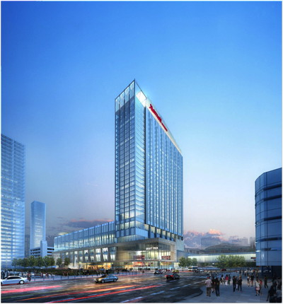 A rendering of the proposed Marriott Marquis Houston Hotel