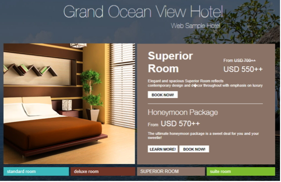 Sample Screenshot for Hotel Room web page