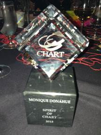 Monique Donahue's 2013 Spirit of CHART Award Trophy