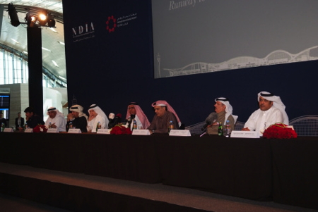 Members of the New Doha International Airport Steering Committee participate on panel at press conference at Hamad International Airport, Doha