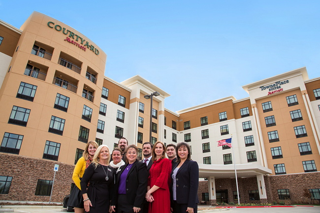 Pictured the Executive Team for Courtyard & TownePlace Suites DFW Airport North/Grapevine. From left to right: Jenna Clary, Peggy Gutierrez, Angela Roberts, Jonathan Pape, Michelle Strong, Jason Troncale, Bethany Hastings, Justin Kuzski, Elisa Berdych