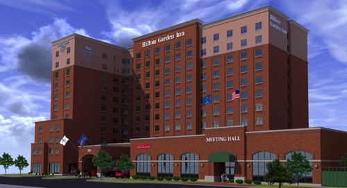 Rendering of the Hilton Garden Inn and Homewood Suites by Hilton Oklahoma City-Bricktown.