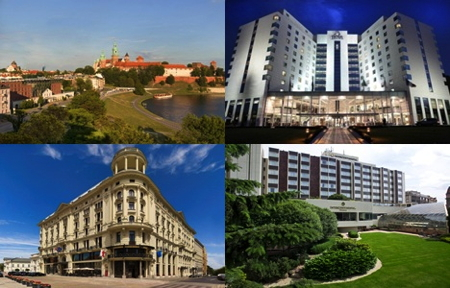For Images from top left: Sheraton Krakow, Hilton Sofia, Bristol Hotel Warsaw, Intercontinental Hotel Prague