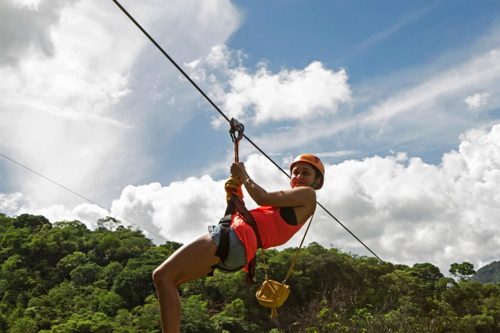 Picture of a person zip lining in Mexico