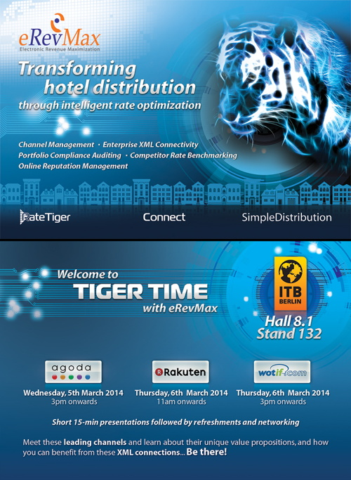 Advertisement for eRevMax event at ITB Berlin for hoteliers