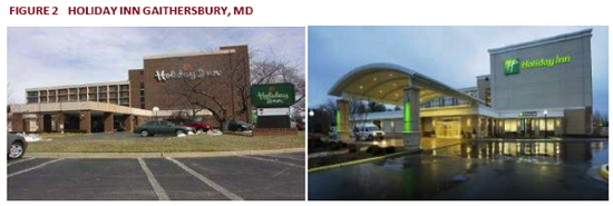 Holiday Inn Gaithersbury, MD - Before and after brand refresh
