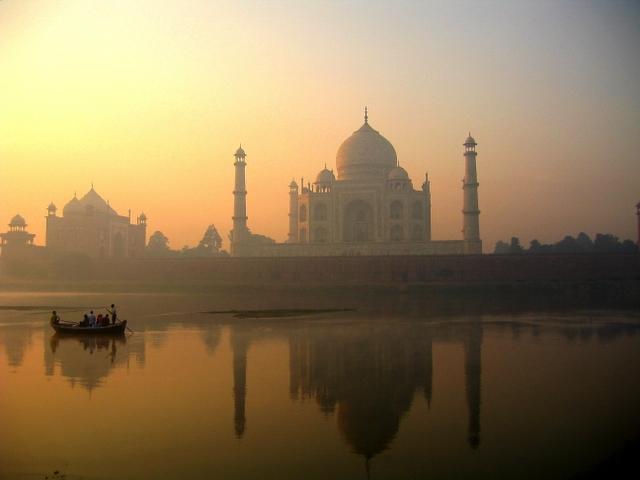 Taj Mahal reflection on Yamuna river, Agra  - Source Wikimedia Commons