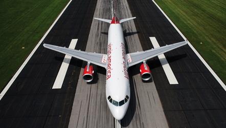 Virgin America plane on runway