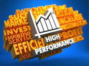 Graphic with the word high performance below a chart
