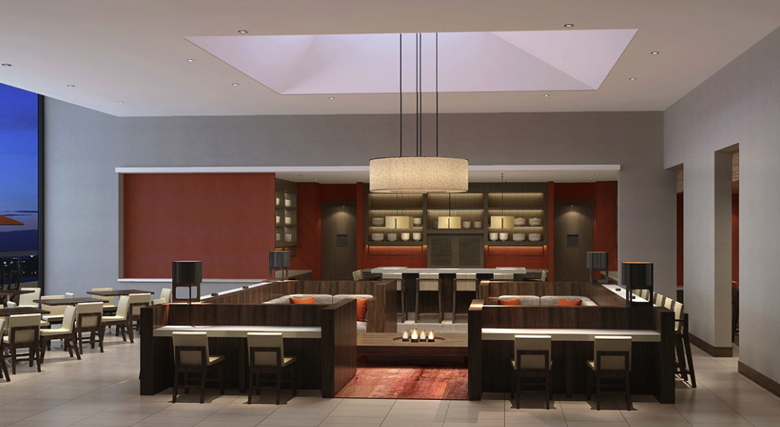 Rendering of the lobby at the Hyatt Place Shenzhen Dongmen
