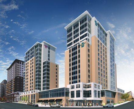 Rendering of the dual-branded Homewood Suites by Hilton and Hampton Inn & Suites by Hilton Halifax-Downtown