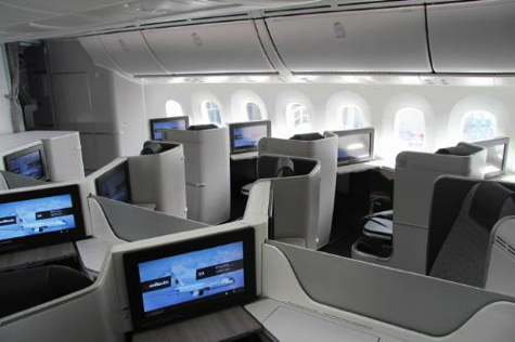 Air Canada's new International Business Class cabin on the 787 Dreamliner.