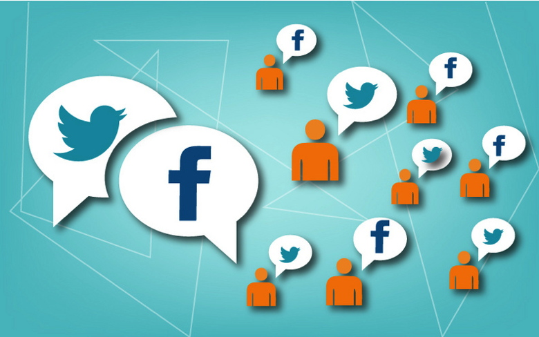 Graphic with various social media icons