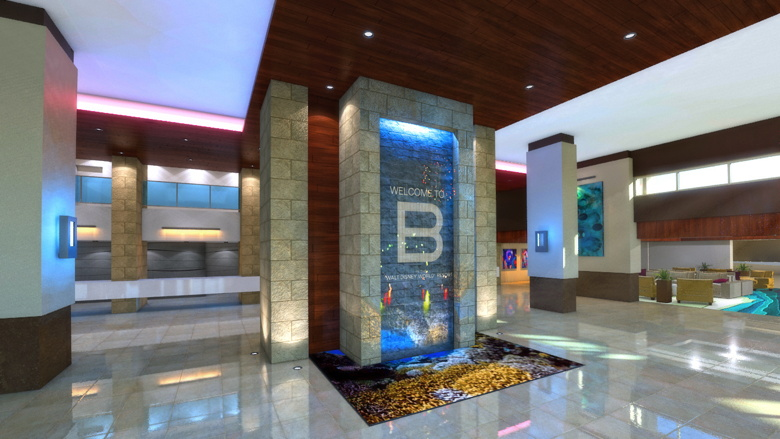 B Resort & Spa in Walt Disney World - Lobby Rendering