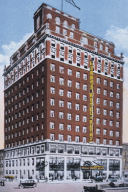 Postcard with architect's rendering of Libbgy's Hotel and Baths; courtesy of the New-York Historical Society