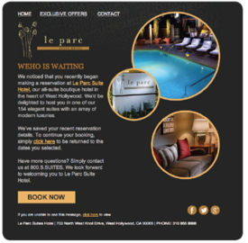 Screenshot from Le Parc Suite Hotel's Website