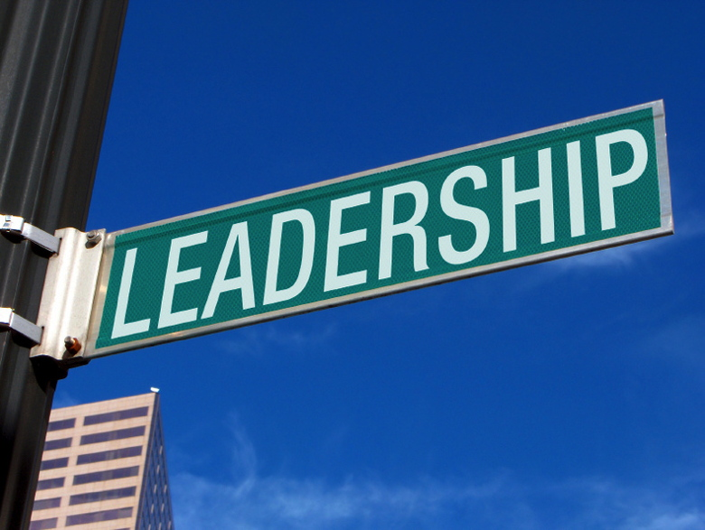 Street sign with the word Leadership