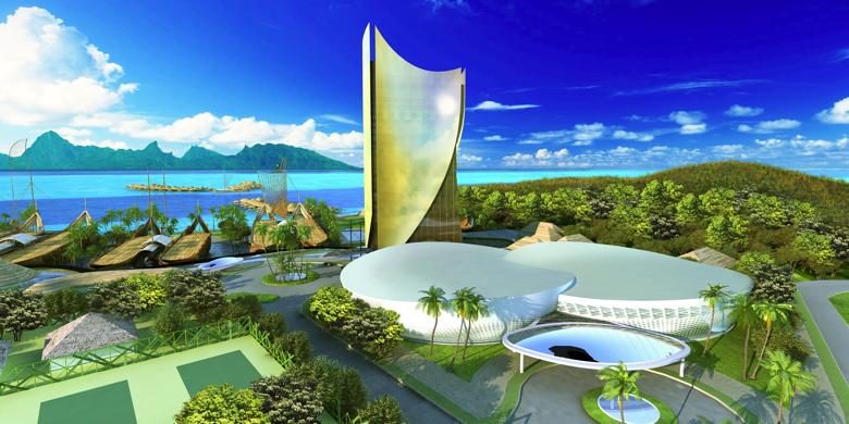 Rendering of the Tahiti Mahana Beach Resort