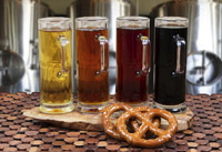 four glasses of craft beer