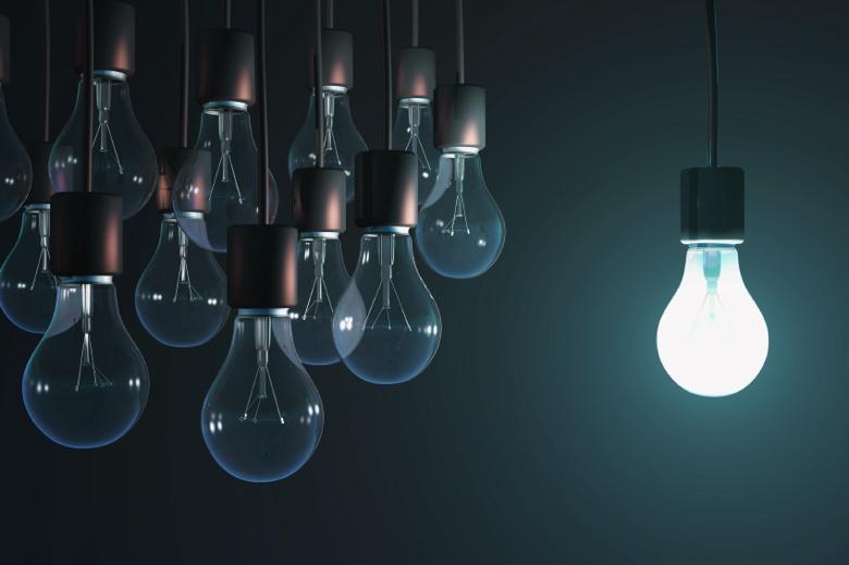 glowing bulb among the gray