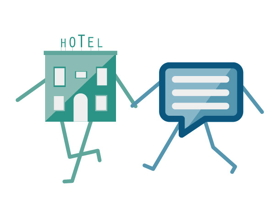 Graphic representing a hotel and thought bubble holding hands