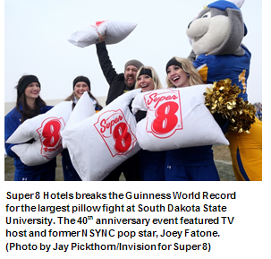 Super 8 and Joey Fatone Break Guinness World Record for Largest Pillow Fight