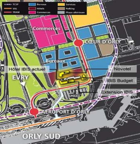 Map with location of three New Accor Hotel Projects at Paris-Orly Airport