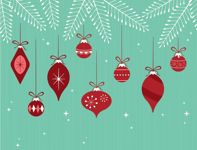 Illustration of Christmas ornaments in a retro style hanging off fir branches with sparkles.