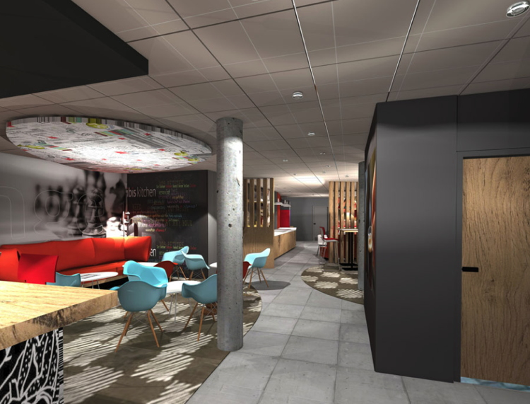 Rendering of the lobby at the ibis Lille Centre Grand Palais