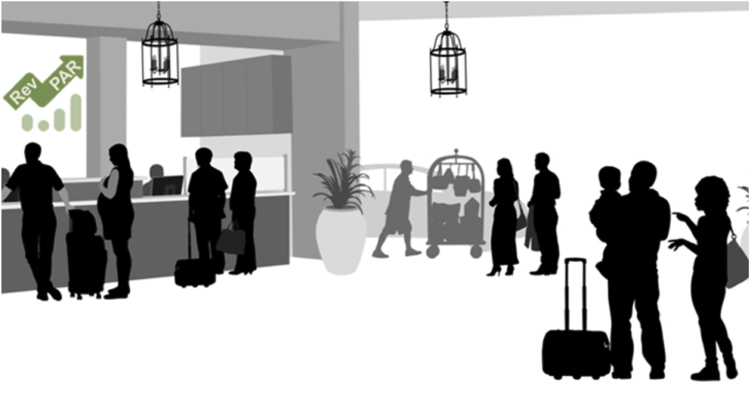 Illustration of a hotel lobby with both employees and guests