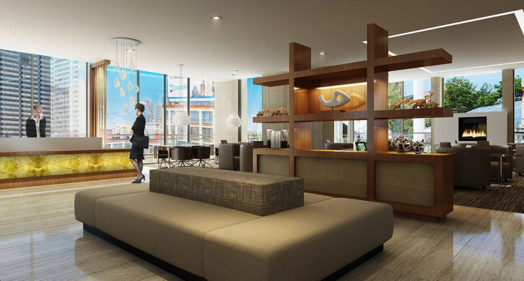 Rendering of the lobby at the AC Hotel Washington, DC at National Harbor
