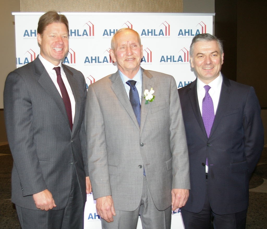AH&LA Award Winner Steve Blum, Uniformed Services Manager at the Willard InterContinental in Washington, D.C.with Patrick Birchall, Regional Director and General Manager (right) and James Ryan, Hotel Manager