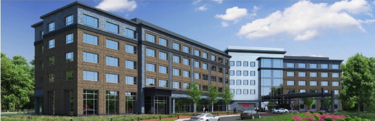 Rendering of the Marriott Autograph Collection Hotel on North Carolina State University's Centennial Campus