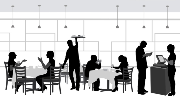 Illustration of a restaurant with patrons and waiters