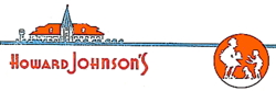 "Corporate logo of the Howard Johnson's company, circa World War II, showing a depiction of an orange-roofed restaurant, characteristic typeface, and ""Simple Simon and the Pieman"" logo. - Source Wikipedia"