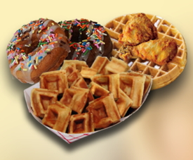 Pictured waffles and donuts