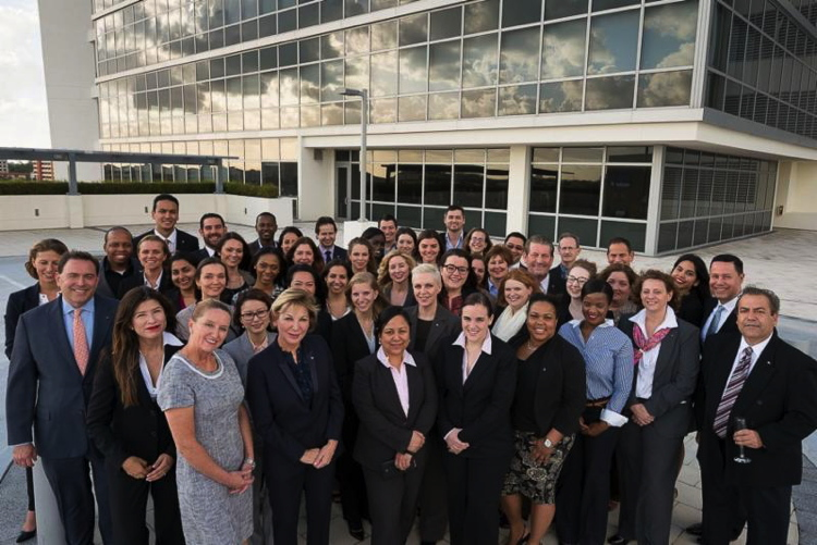 Accor employees pictured outside the Accor Miami Headquarters