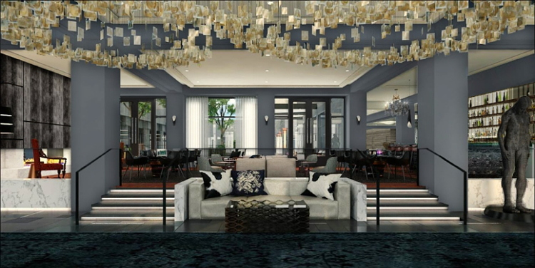 The lobby of the Logan, Philadelphia's Hotel, part of Curio - A collection by Hilton, opening fall 2015.