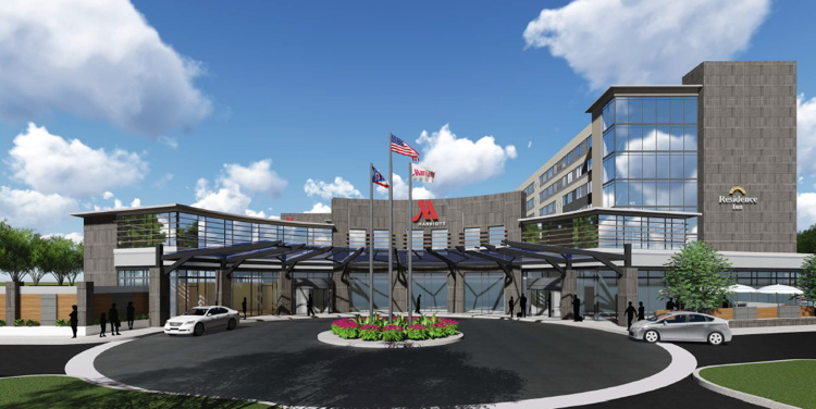 Rendering of the First Marriott Hotel and Residence Inn Dual-Branded Hotel