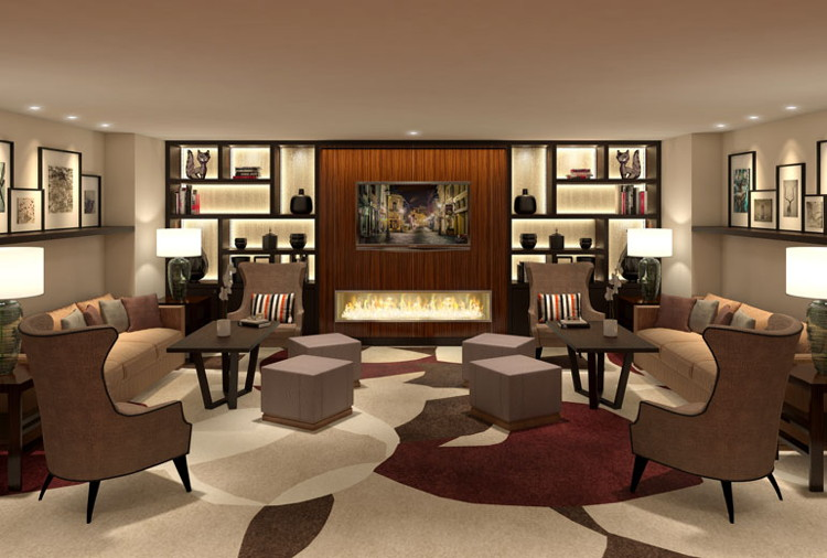 Rendering of lounge at the Sheraton Bucharest Hotel
