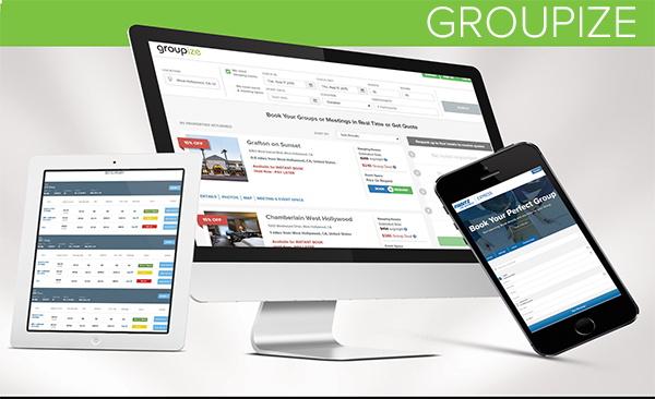 Screenshot of Groupize on various display types