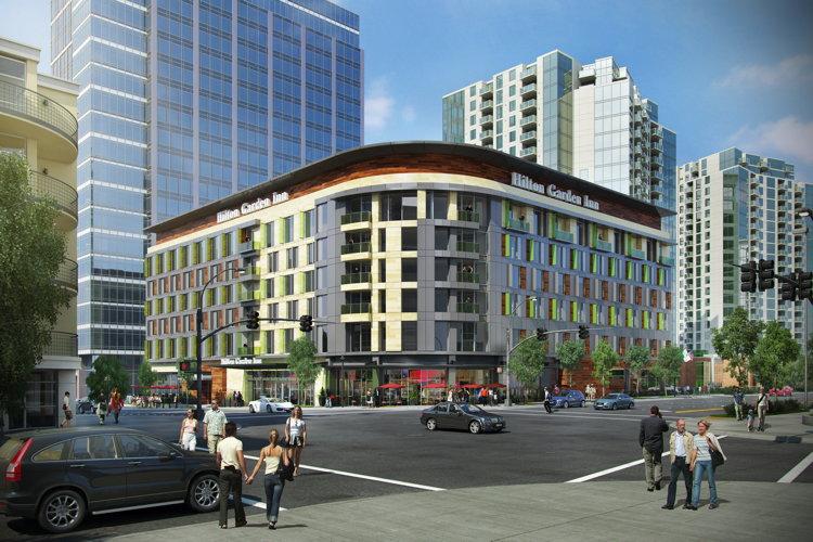 254 room hilton garden inn breaks ground in downtown. Black Bedroom Furniture Sets. Home Design Ideas