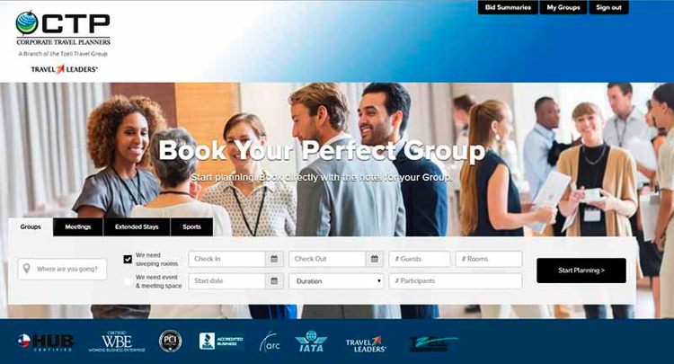 Screenshot Corporate Travel Planners website