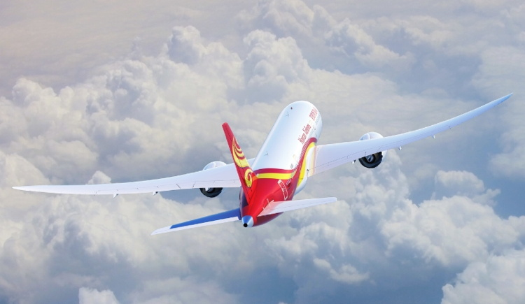 Hainan Airlines airplane in flight
