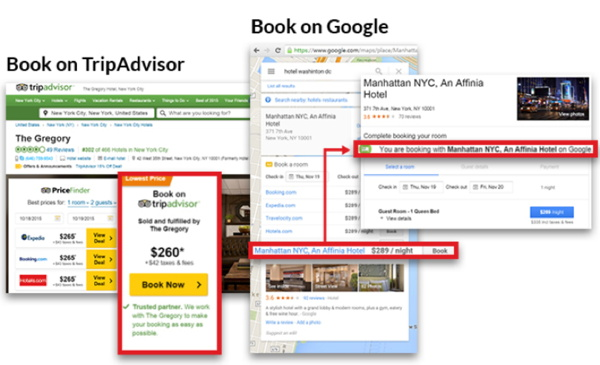 Screenshot of various hotel booking systems