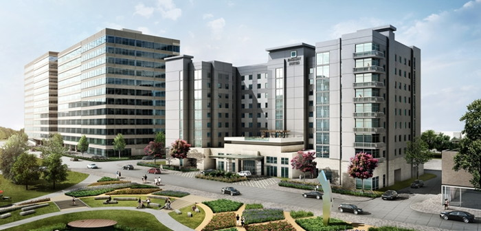 Rendering of the Embassy Suites by Hilton The Woodlands at Hughes Landing